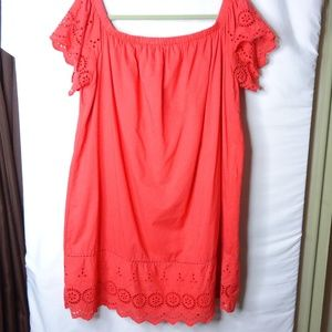 Primark Bardot Eyelet Red/Coral Lined Tunic Top